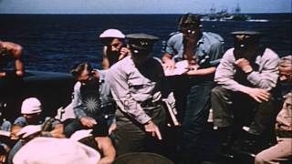 A naval officer briefs coxswains on the USS Bayfield, APA 33 underway in the Paci...HD Stock Footage