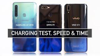 SAMSUNG A9 2018 vs OPPO F9 vs VIVO V11 FAST CHARGING TEST | Zeibiz