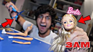 DO NOT CUT OPEN HAUNTED BARBIE DOLL AT 3AM!! *OMG SHE IS POSSESSED*