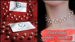 Delicate Pearl Choker/Necklace | Pearl Chain Necklace | Creative Mano