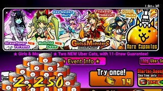 The Battle Cats - 2,250 Catfood + 13 Rare Cat Tickets On Girls & Monsters