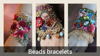 Gorgeous Beads And Antique Lace Crochet Cuff Bracelets Styles