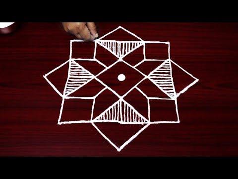 simple rangoli designs with 7 to 1 dots - beautiful kolam designs - muggulu designs for beginners