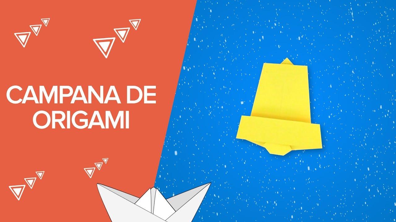 Campana de Navidad con papel | Origami fácil para niños