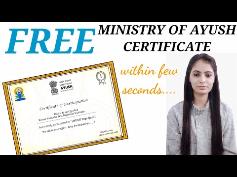 Ministry of Ayush / Ministry of AYUSH Certificate / Free online ...