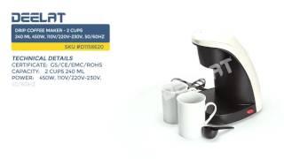 Drip Coffee Maker - 2 cups 240 ml 450W, 110V/220V-230V, 50/60Hz
