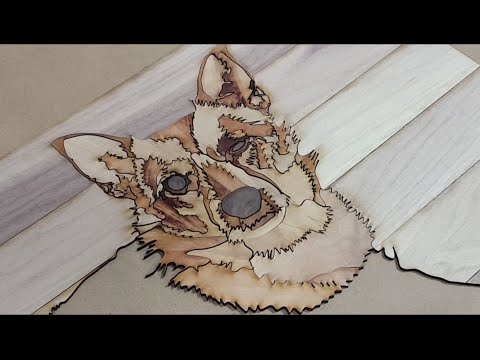 Portrait of Potato the dog.  Laser Cut Marquetry