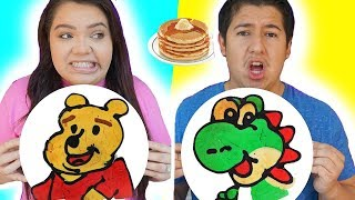 PANCAKE ART CHALLENGE! Learn How to Make Winnie The Pooh, Toy Story & Mario DIY Pancakes!