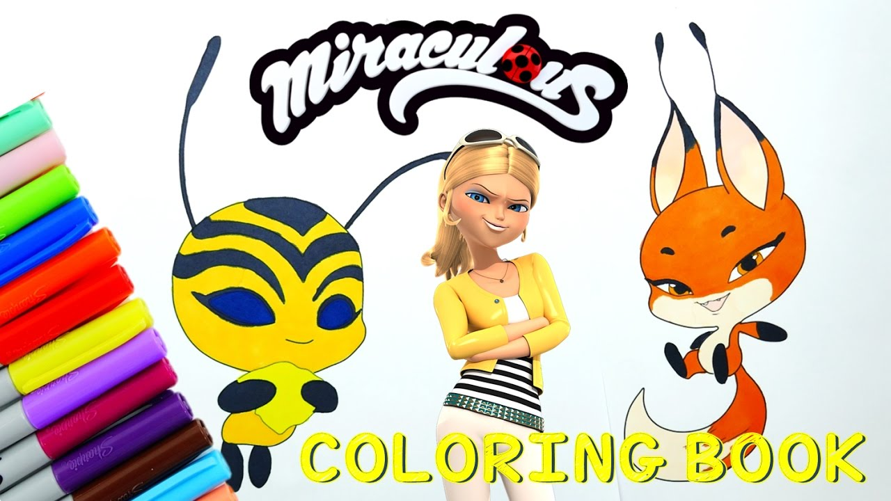 DIY Miraculous Ladybug Coloring Book Pages Kwami Trixx (Volpina) Bee (Queen Bee) | Evies Toy House