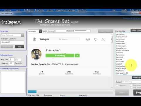 Video cara unfollow user di instagram menggunakan software the grams bot