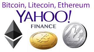 Yahoo finance добавили торговлю Bitcoin, Litecoin, Ethereum