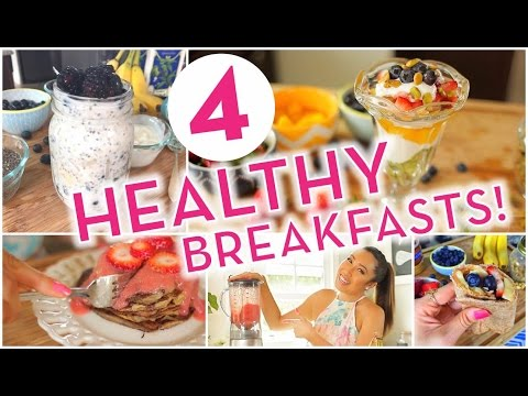 Video 4 Super Easy Healthy Breakfast Ideas! Banana Pancakes, Overnight Oats, Energy Wrap, Rainbow Parfait!