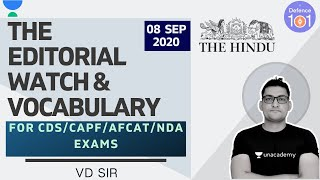 The Editorial Watch & Vocabulary   Hindu Editorial Analysis   CDS/CAPF/AFCAT/CAPF exams   VD Sir