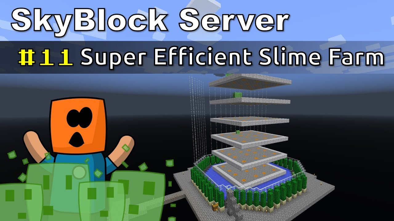 Minecraft - Super Efficient Slime Farm - SkyBlock #11