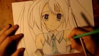 Смотреть онлайн Как поэтапно нарисовать карандашом аниме Мику Хатсуне