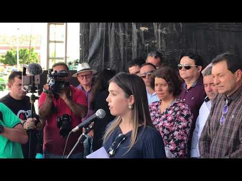 Prefeita de Monteiro discursa durante a visita do Governador Ricardo Coutinho