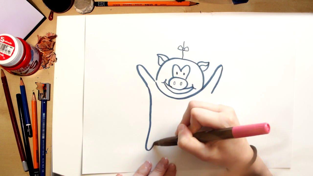 Como desenhar o Porquinho da Turma da Vaquinha - desenhos para crianças