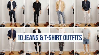 10 Easy Ways to Style Jeans with T-Shirts | Men's Fashion | Casual Outfit Ideas
