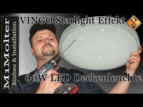 Decken Lampe anschließen - VINGO Starlight Effekt Design 60W LED Deckenleuchte