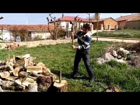 CÓMO Rajar Partir Cortar Troncos de Madera para Leña con cuñas y porra maza de 6 kilos