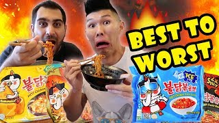 FIRE NOODLE RAMEN--ALL SAMYANG FLAVORS RANKED || Life After College: Ep. 563