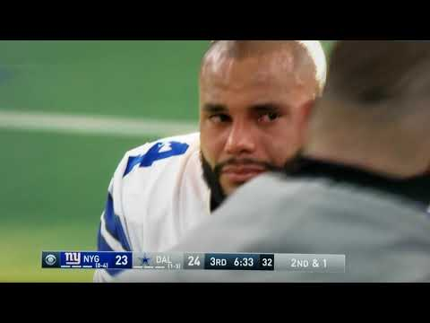 Dallas Cowboys vs New York Giants Game ,Jason Garrett checks on Dak Prescott's Injury right ankle.