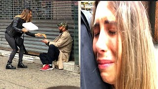 Giving Pizza To Homeless People in NYC - Social Experiment 2018