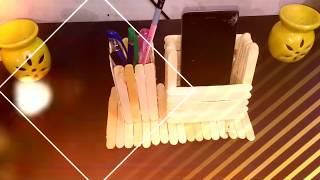 Diy Pen Stand And Mobile Phone Holder With Icecream Sticks 免费