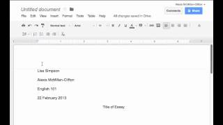 Inserting MLA header & page number in Google Docs