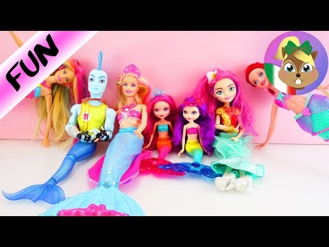 6 Sirenette e 1 sirenettO! - Famiglia con Ariel, Barbie, Monster High, Meeshell Mermaid