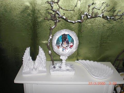 Weihnachtskugel Schneeball aus Keramik selbst gemacht