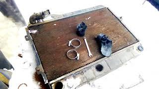 самодельный трактор двс 2109 заменил радиатор .