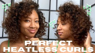 Easy Overnight HEATLESS Curls On Straightened Hair | Medium Length