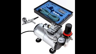 Opening and Unboxing Review Timbertech Airbrush Kit ABPST05 Dual Action Airbrush and Compressor
