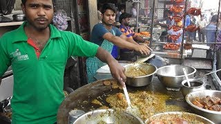 Indian People Enjoying Famous Lucknowi Biryani & Chicken Kebab - Street Food Lucknow India