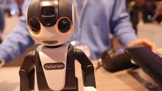 Sharp Robohon speaks English at the Qualcomm booth at MWC 2016