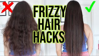 How To Get Rid Of Frizzy Hair !! 8 HAIR HACKS