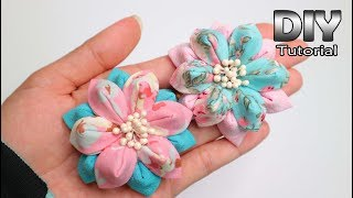 DIY - Cotton Fabric Flowers Tutorial   Kanzashi   No Sew   Perca Katun Konveksi   Bros Patchwork