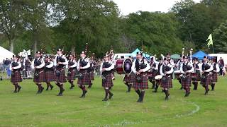 Portlethen & District Pipe Band afternoon display during Aberdeen Highland Games in June 2019