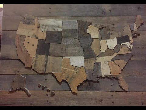 DIY  United States Wall Map – USA decor pallet wood