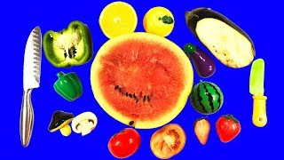 Учим овощи и фрукты на липучках против настоящих развивающее видео для детей