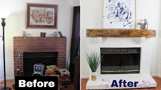 Build a DIY Faux Rustic Beam Mantel | Floating Shelf