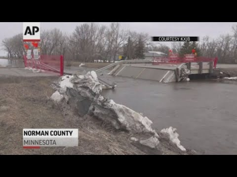 An ice jam led to a bridge collapsing in Norman County, Minnesota on Tuesday morning. Flooding in the area also shut down several roads. (April 10)