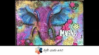 Mixed Media Elephant On Canvas Board