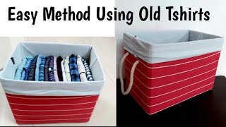 How To Cover#Cardboard Box With Fabric Very Easily Using#Old Tshirts #waste Cardboard Box Into ....