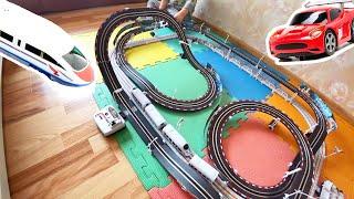 Автотрек со спорткаром и поездом, детский аквагрим (0+). Sportcar & train autotrack , face painting