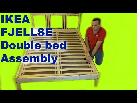 IKEA FJELLSE Double Bed Frame Assembly with LURÖY slatted bed base.