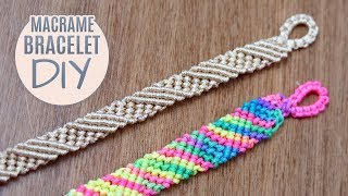 DIY Diagonal Striped Macramé Bracelet Easy Tutorial