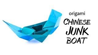 Origami Chinese Junk Boat Tutorial - Origami Gondola - Paper Kawaii