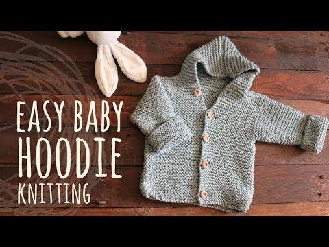 Tutorial Easy Baby Knitting Hoodie Cardigan